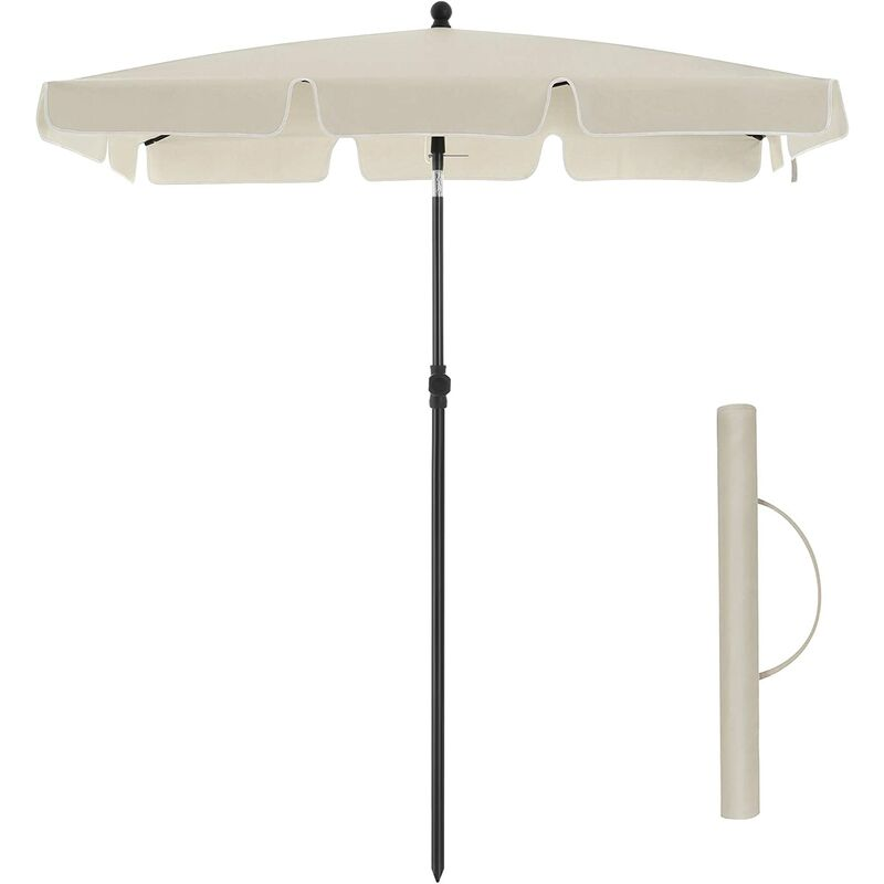 Songmics - Rectangular Balcony Parasol 2 x 1.25 m, UPF 50+ Protection, Tilting Sunshade, PA-Coated Canopy, Carrying Bag, Garden Terrace, Base Not