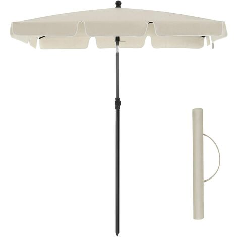 Rectangular Balcony Parasol 2 x 1.25 m, UPF 50+ Protection, Tilting Sunshade, PA-Coated Canopy, Carrying Bag, Garden Terrace, BaseNotIncluded, Red GPU025R01 - Red