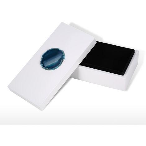 Rectangular Blue Agate Wooden Jewelry Box