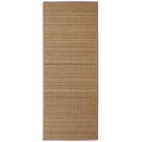 Rectangular Brown Bamboo Rug 80 x 200 cm