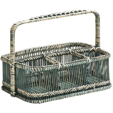 Rectangular Caddy Basket,Rattan/Bamboo,Rustic Grey Washed