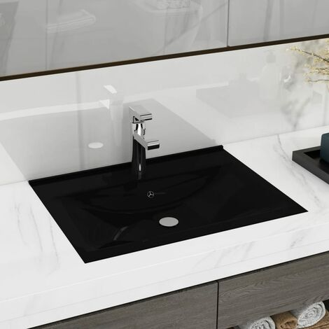 Rectangular Ceramic Basin Black with Faucet Hole 60x46 cm