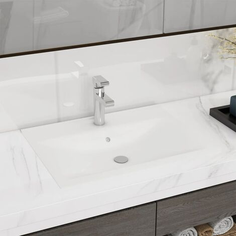 Rectangular Ceramic Basin Sink White with Faucet Hole 60x46 cm