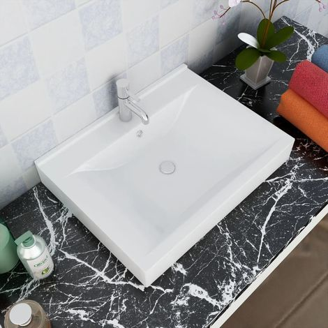 Rectangular Ceramic Basin Sink White with Faucet Hole 60x46 cm VD03673