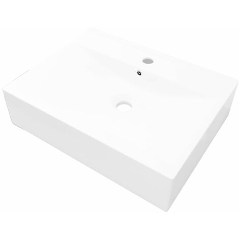 Rectangular Ceramic Basin Sink White with Faucet Hole 60x46 cm - White