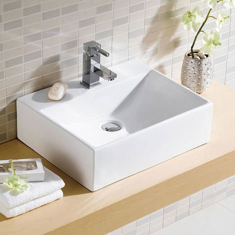 Rectangular Cloakroom Counter Top Ceramic Basin - 375mm