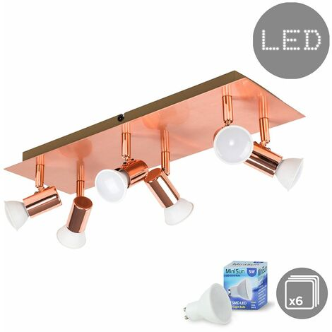 Rectangular Copper Plate 6 Way Adjustable Ceiling Spotlight + 6 x 5w GU10 LED Bulbs - Cool White