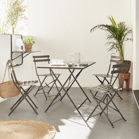 Rectangular foldable garden set - Emilia sage green - 110 x 70cm table with four folding chairs - thermo-lacquered steel