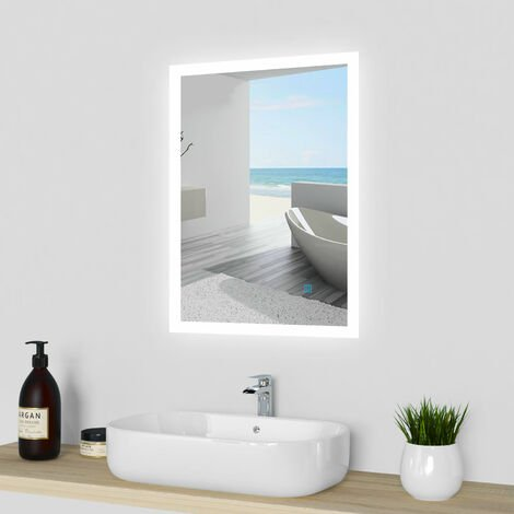 Rectangular Heated Bathroom Mirror with Touch Lights,Wall Mounted,IP44,Vertical or Horizontal