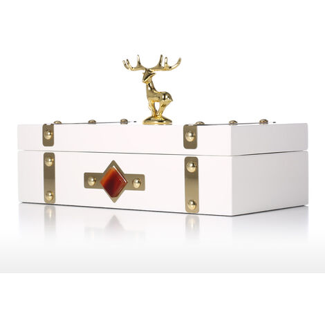 Rectangular Jewelry Box, White - Deer, Necklace Storage Box