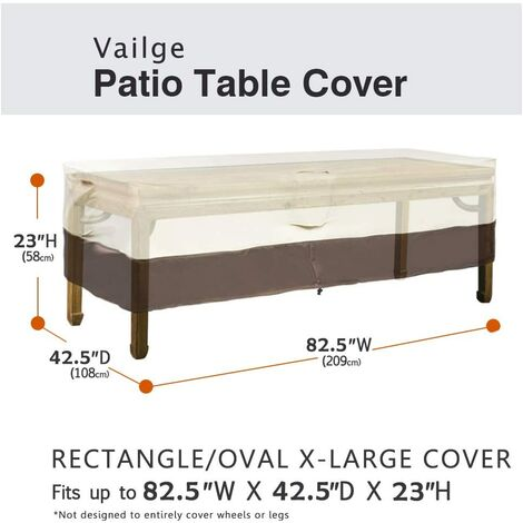 """main image of """"Rectangular/oval patio table cover, heavy-duty waterproof outdoor lawn patio furniture cover, large beige and brown a"""""""