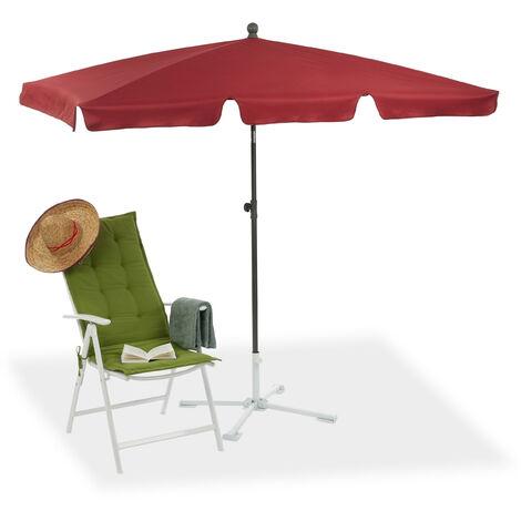 Rectangular Parasol, 200 x 120 cm Garden Beach & Balcony Umbrella with Titling Feature, Bordeaux