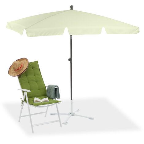 Rectangular Parasol, 200 x 120 cm Garden Beach & Balcony Umbrella with Titling Feature, Pale Yellow