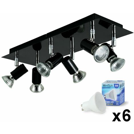 Rectangular Plate 6 Way Adjustable Ceiling Spotlight + LED Bulbs - Cool White - Black