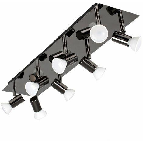 Rectangular Plate 8 Way Adjustable Ceiling Spotlight + GU10 LED Bulbs
