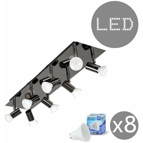 Rectangular Plate 8 Way Adjustable Ceiling Spotlight + GU10 LED Bulbs - Black Chrome - Black