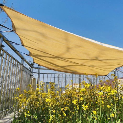 Rectangular Shade Sail UV Protection Canvas Fabric Garden Balcony Parasol Yellow