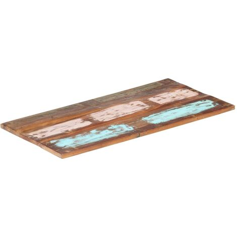 Rectangular Table Top 60x100 cm 25-27 mm Solid Reclaimed Wood - Multicolour
