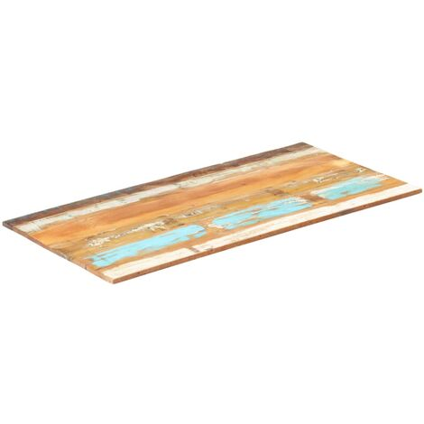 Rectangular Table Top 60x120 cm 15-16 mm Solid Reclaimed Wood - Multicolour