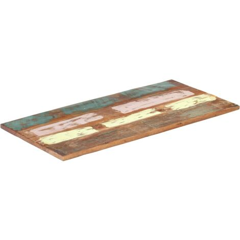 Rectangular Table Top 60x120 cm 25-27 mm Solid Reclaimed Wood - Multicolour