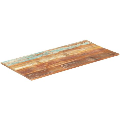 Rectangular Table Top 60x140 cm 15-16 mm Solid Reclaimed Wood - Multicolour