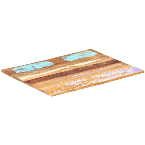 Rectangular Table Top 60x70 cm 15-16 mm Solid Reclaimed Wood - Multicolour