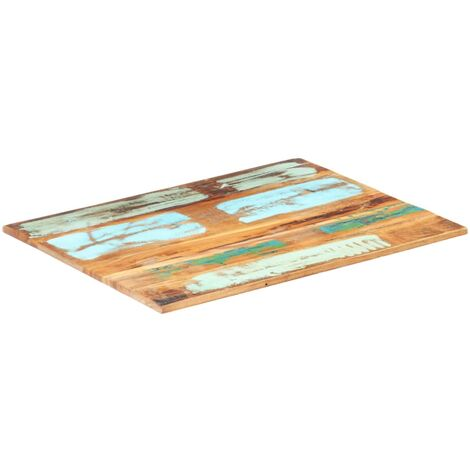 Rectangular Table Top 60x80 cm 15-16 mm Solid Reclaimed Wood - Multicolour