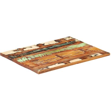 Rectangular Table Top 60x80 cm 25-27 mm Solid Reclaimed Wood - Multicolour