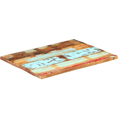 Rectangular Table Top 60x90 cm 25-27 mm Solid Reclaimed Wood - Multicolour