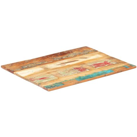 Rectangular Table Top 70x80 cm 15-16 mm Solid Reclaimed Wood - Multicolour