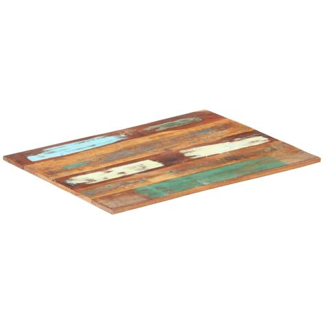 Rectangular Table Top 70x90 cm 15-16 mm Solid Reclaimed Wood - Multicolour
