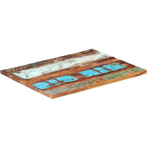Rectangular Table Top 70x90 cm 25-27 mm Solid Reclaimed Wood - Multicolour