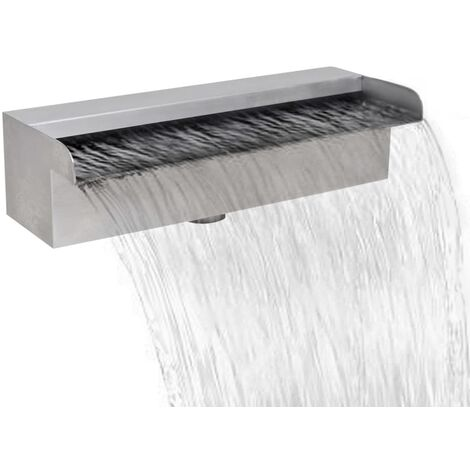 Rectangular Waterfall Pool Fountain Stainless Steel 30 cm
