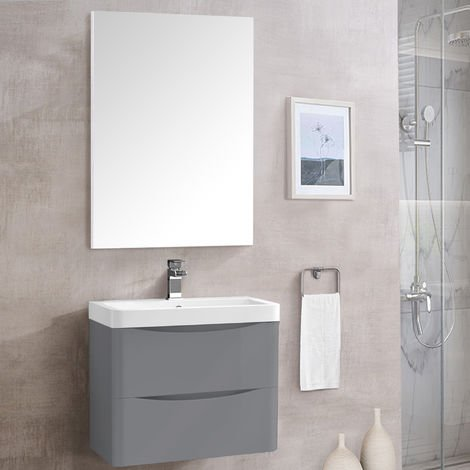 Rectangular Wooden Frame Wall-Mounted Bathroom Toilet WC Mirror 800 x 600mm