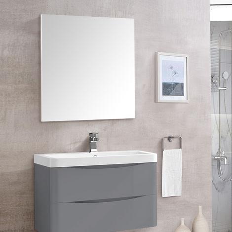 Rectangular Wooden Frame Wall-Mounted Bathroom Toilet WC Mirror 800 x 700mm