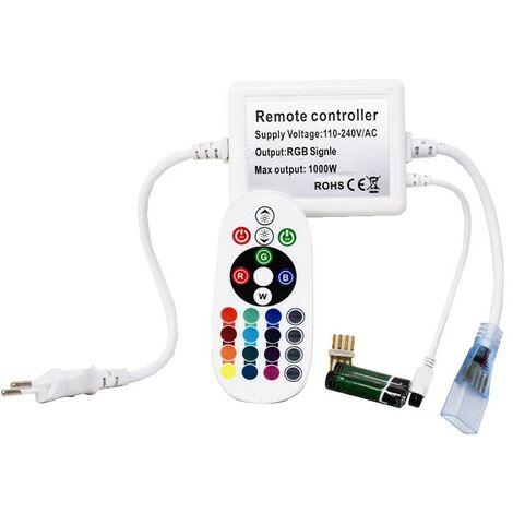 Rectificador Tira Led RGB 220V con mando multifunción