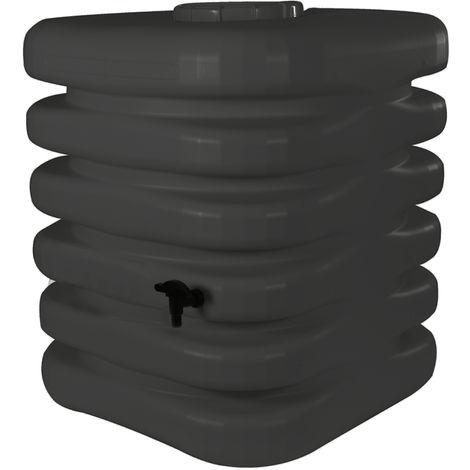 Récupérateur d'eau de pluie Cubique 1000 L anthracite + Kit raccord chéneau