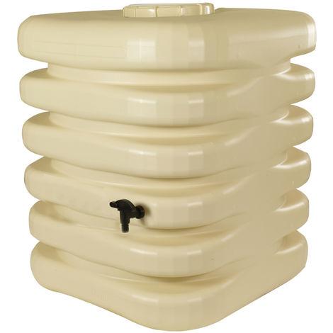 Récupérateur d'eau de pluie Cubique 1000 L beige + Kit raccord chéneau