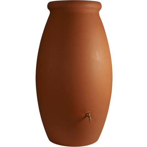 Récupérateur d'eau de pluie Jarre 1000 L couleur terre cuite + Kit raccord chéneau