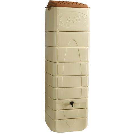 Récupérateur d'eau de pluie mural 650 L beige + Kit raccord chéneau