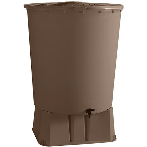 Récupérateur d'eau de pluie rond 500 L + Socle + Kit raccord chéneau - Taupe - BelliJardin