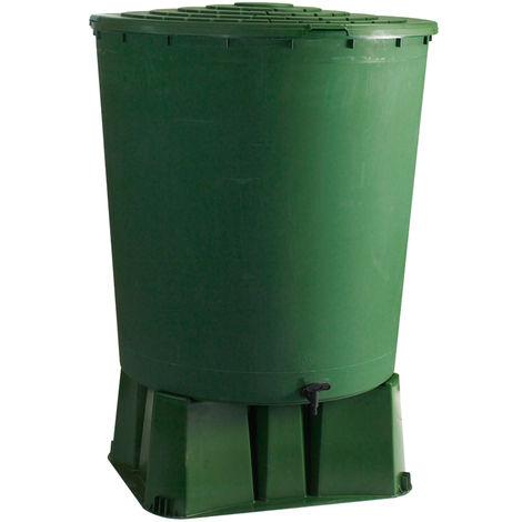 Récupérateur d'eau de pluie rond + Socle vert 500 L + Kit raccord chéneau