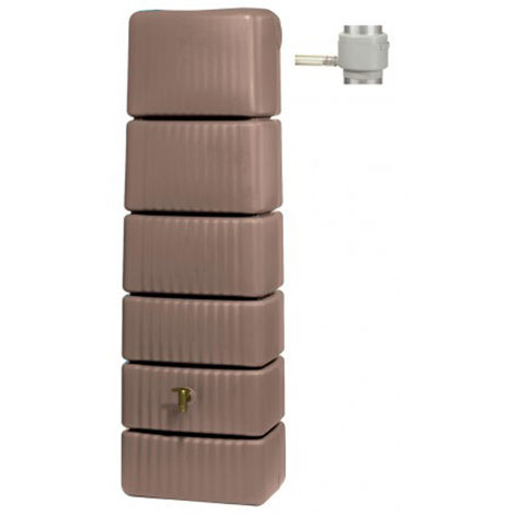 Récupérateur d'eau slim 300l taupe avec collecteur eco - Dim : H 182 x L 58 x P 37cm -PEGANE-