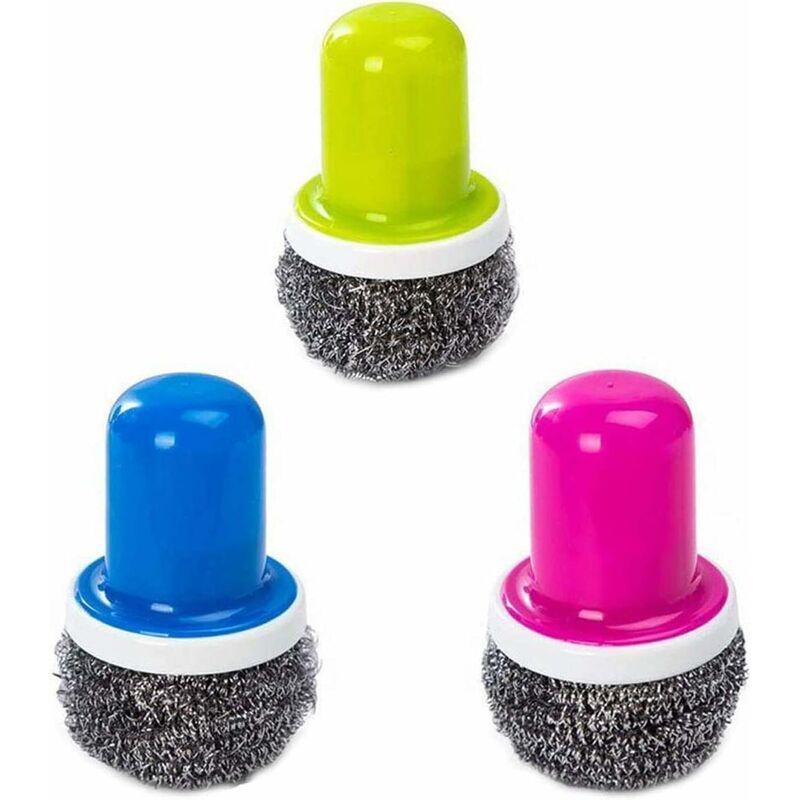Abcrital - Récureurs en acier inoxydable avec poignée, brosse de nettoyage réutilisable pour lave-vaisselle pour lave-vaisselle (bleu + vert + rouge)