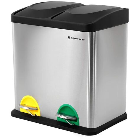 Recycle Bin, 30-Litre Waste Separation System, 2 x 15L Rubbish Bin, with Inner Buckets, Colour-Coded Pedals, for Kitchen, Living Room