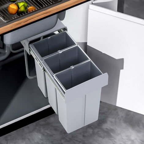 RECYCLE BIN SOFT CLOSE PULL OUT KITCHEN WASTE BINS FOR 300MM CABINET UNIT
