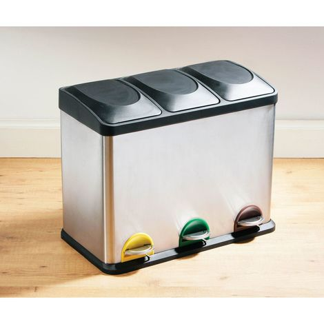 Recycle Pedal Bin,45L Stainless Steel with 3 Compartments