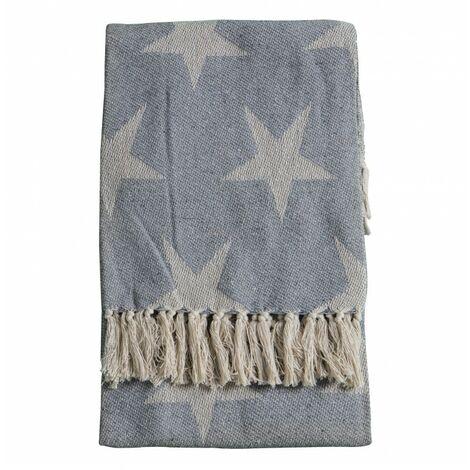 Recycled Cotton Star Throw Grey 130x170cm