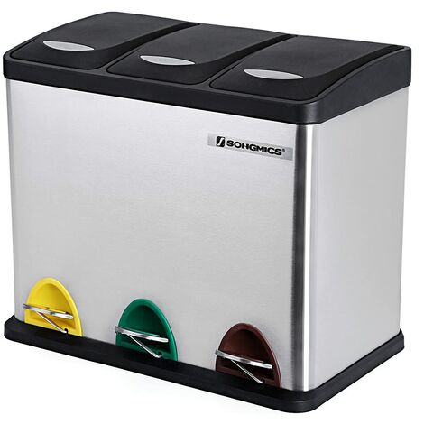 Recycling Bin, 3-in-1 Pedal Bin, 24-Litre Metal Rubbish Bin, Waste Separation System Dustbin for Kitchen, Durable, Easy to Clean, Steel