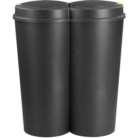 Recycling Bin 50L Double Dustbin Lid Dual Kitchen Dust Rubbish Bins Waste Compost Push Button 2 Compartments 2x25 Litre